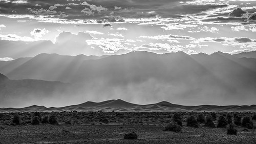 Sand Dunes Dust Storm and Sun Rays (Black and White)